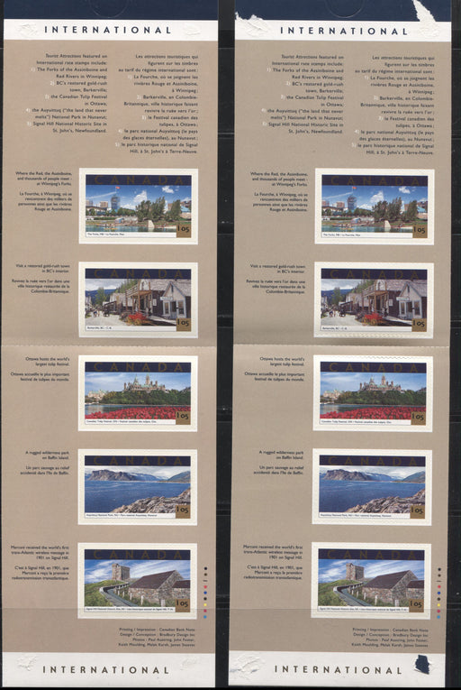 Canada #BK244a 2001 Tourist Attractions Issue, 2 Complete $5.25 Booklets, JAC Paper, Dead Paper, 4 mm GT-4 Tagging, Two Different Background Colours