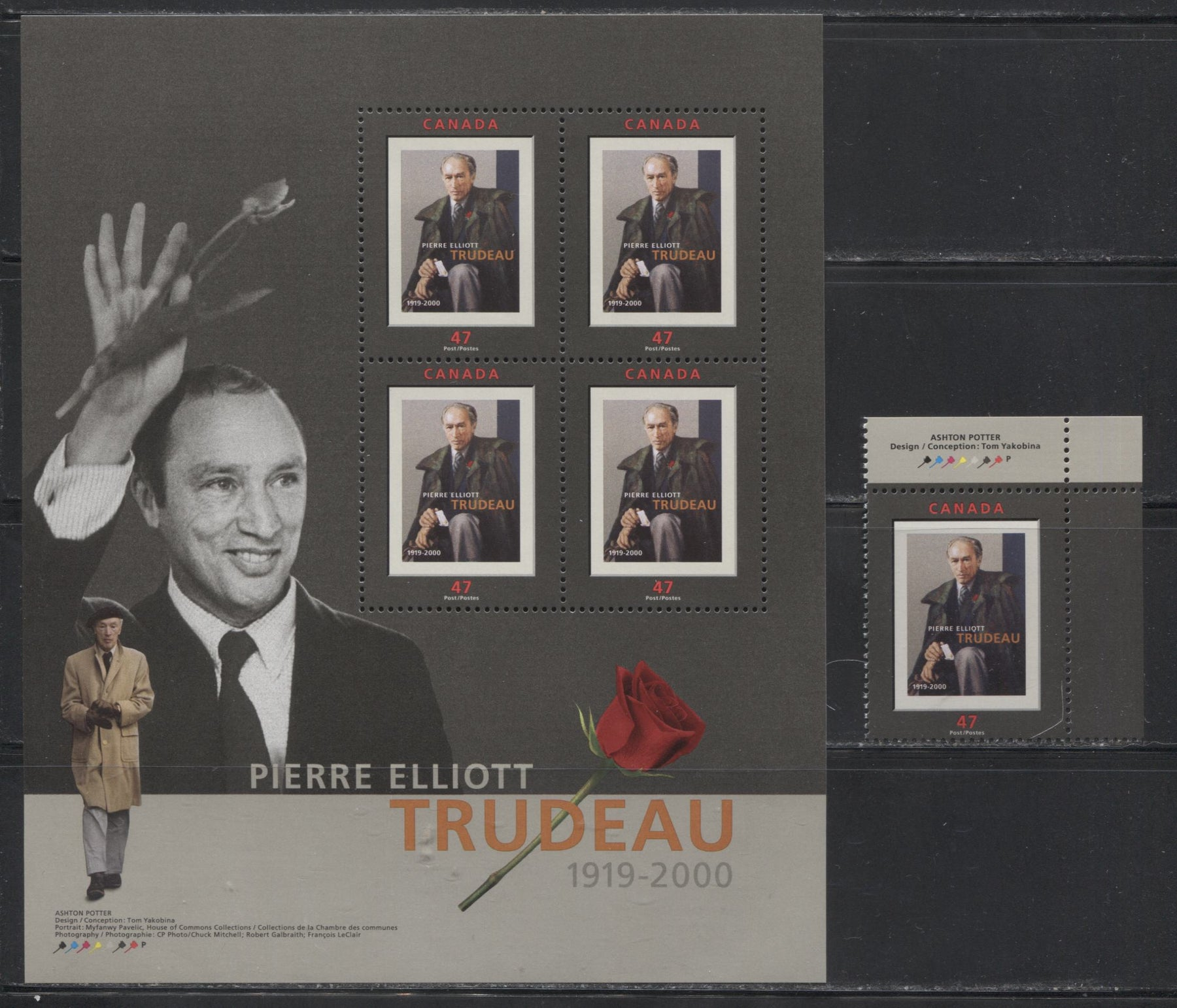 Canada #1909-a 47c-$1.88 Multicolored, 2001 Pierre Elliot Trudeau Issue, VFNH Examples Of A Sheet Single and Souvenir Sheet.