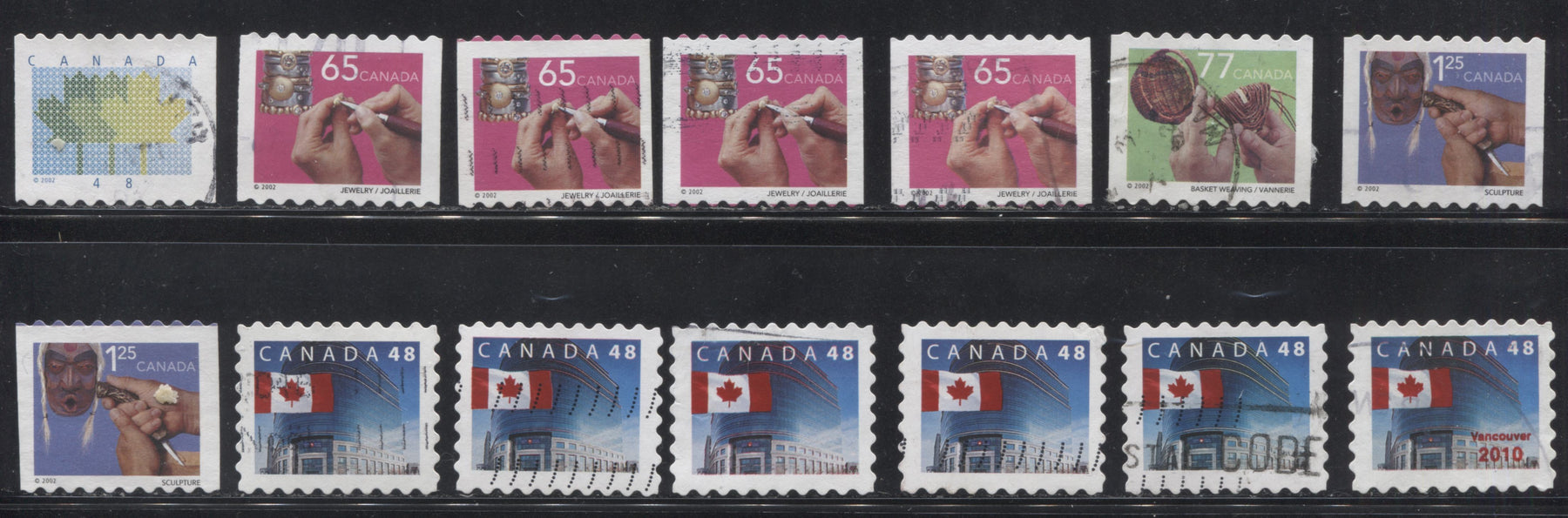 Canada #1927/1931 48c-$1.25 Multicolored 1998-2003 Trades and Wildlife Issue, A Specialized Lot of 14 VF Used Stamps