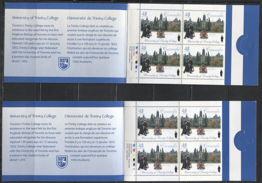 Canada #BK256b 2002 Trinity College Issue, 2 Complete $3.84 Booklets, Tullis Russell Coatings Paper, Dead Paper, Strong and Weak 4 mm GT-4 Tagging, Dull and Medium Fluorescent Covers