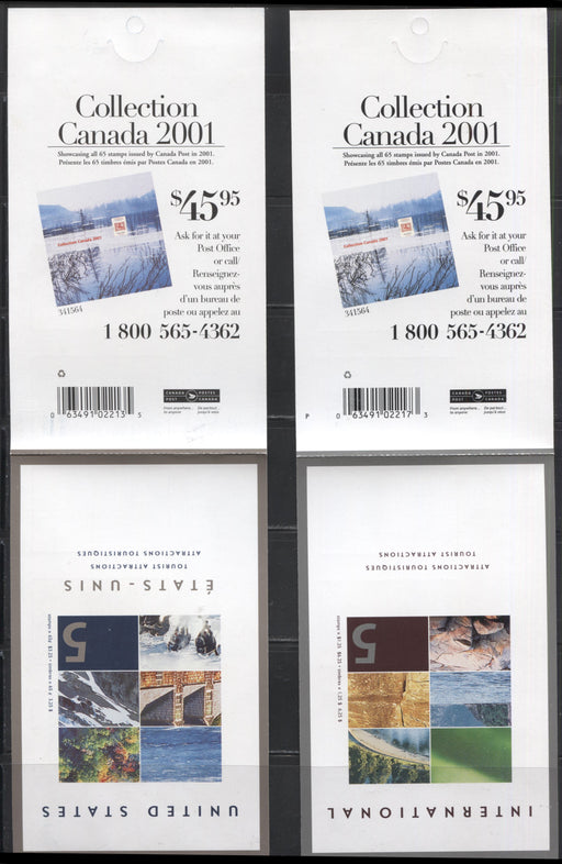 Canada #BK259a-260b 2002 Tourist Attractions Issue, Complete $3.25 & $6.25 Booklets, Tullis Russell Coatings Paper, Dead Paper, 4 mm GT-4 Tagging, Open and Sealed Covers