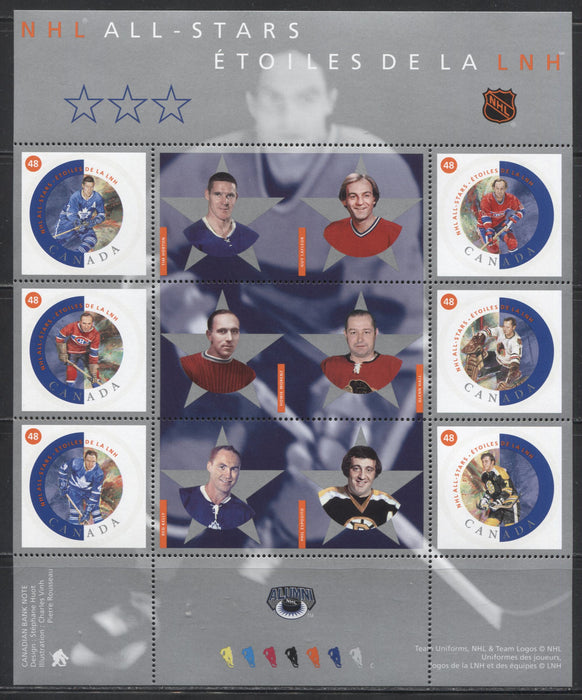 Canada #1935 48c Multicoloured, 2002 NHL All Stars Issue, VFNH Example of the Souvenir Sheet In Protective Folder