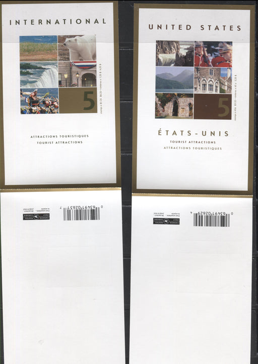 Canada #BK270b-271b 2003 Tourist Attractions Issue, Complete $3.25 & $6.25 Booklets, Tullis Russell Coatings Paper, Dead Paper, 4 mm GT-4 Tagging, Open Covers