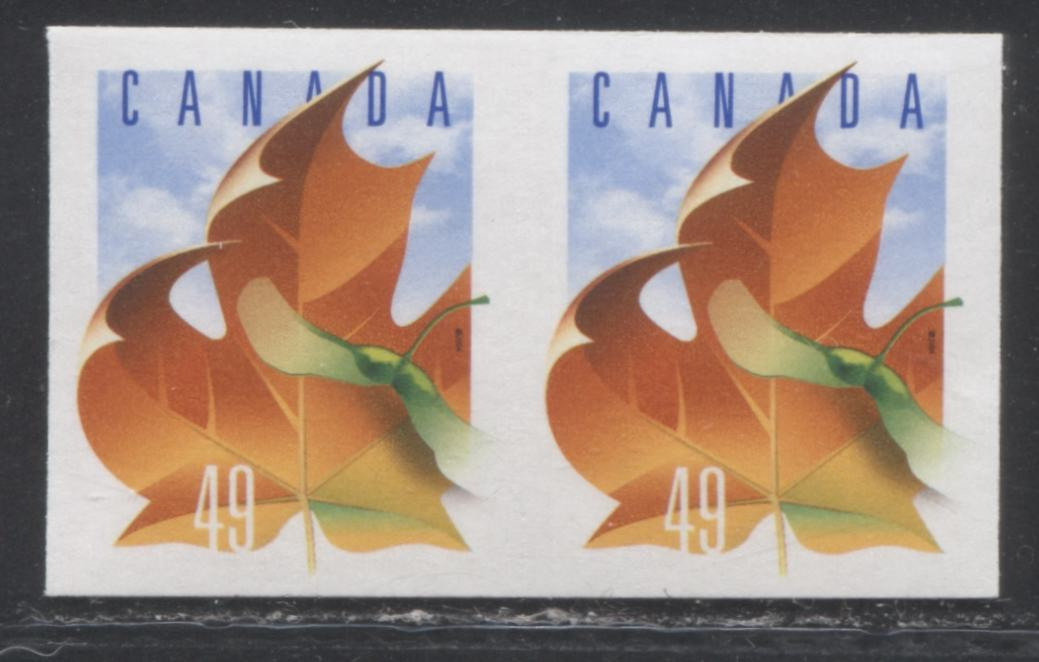 Canada #2008a 49c Multicoloured Maple Leaf, 1998-2003 Trades and Wildlife Issue, a VFNH Coil Pair With Die Cutting Omitted