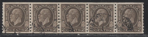 Canada #206 2c Black Brown King George V Medallion Issue Coil Strip of 5 VF-80 Used