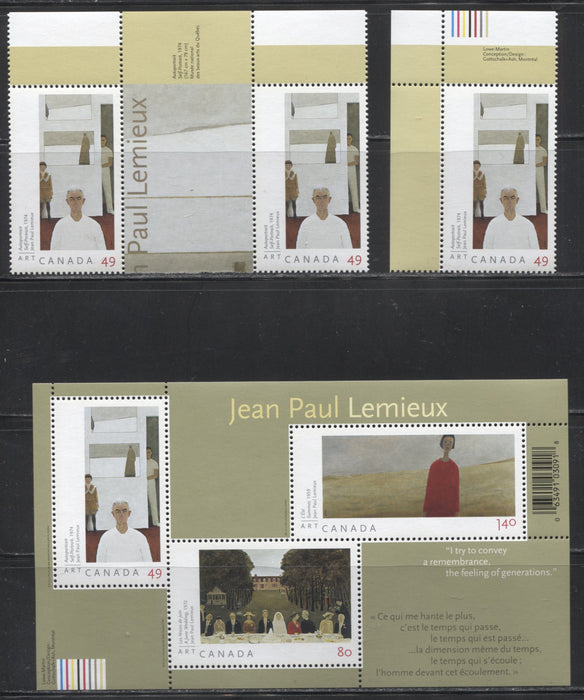 Canada #2067,2067i and 2068 49c-$2.69 Multicolored 2004 Art Canada Issue, VFNH Examples Of A Single Stamp, A Horizontal Pair With a Gutter and A Souvenir Sheet.