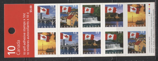 Canada #BK302a 2004-2005 Flag Over Canada Definitive Issue, Complete $5 Booklet, Tullis Russell Coatings Paper, Dead/High Fluorescent Paper, 4 mm GT-4 Tagging, Wide Roulette - 5 Slits, Cover NA