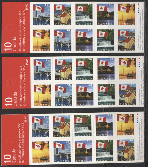 Canada #BK302b 2004-2005 Flag Over Canada Definitive Issue, Three Complete $5 Booklets, Tullis Russell Coatings Paper, Dead/HB Paper, 4 mm GT-4 Tagging, Narrow Roulette - 29 Slits, Covers BB, BD and BE