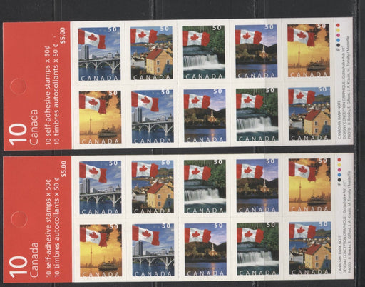 Canada #BK302b 2004-2005 Flag Over Canada Definitive Issue, Two Complete $5 Booklets, Tullis Russell Coatings Paper, Dead/High Fluorescent Paper, 4 mm GT-4 Tagging, Narrow Roulette - 29 Slits, Covers QB and AA