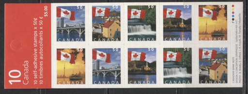 Canada #BK302b 2004-2005 Flag Over Canada Definitive Issue, Complete $5 Booklet, Tullis Russell Coatings Paper, Dead/Medium Fluorescent Paper, 4 mm GT-4 Tagging, Narrow Roulette - 29 Slits, Cover BC