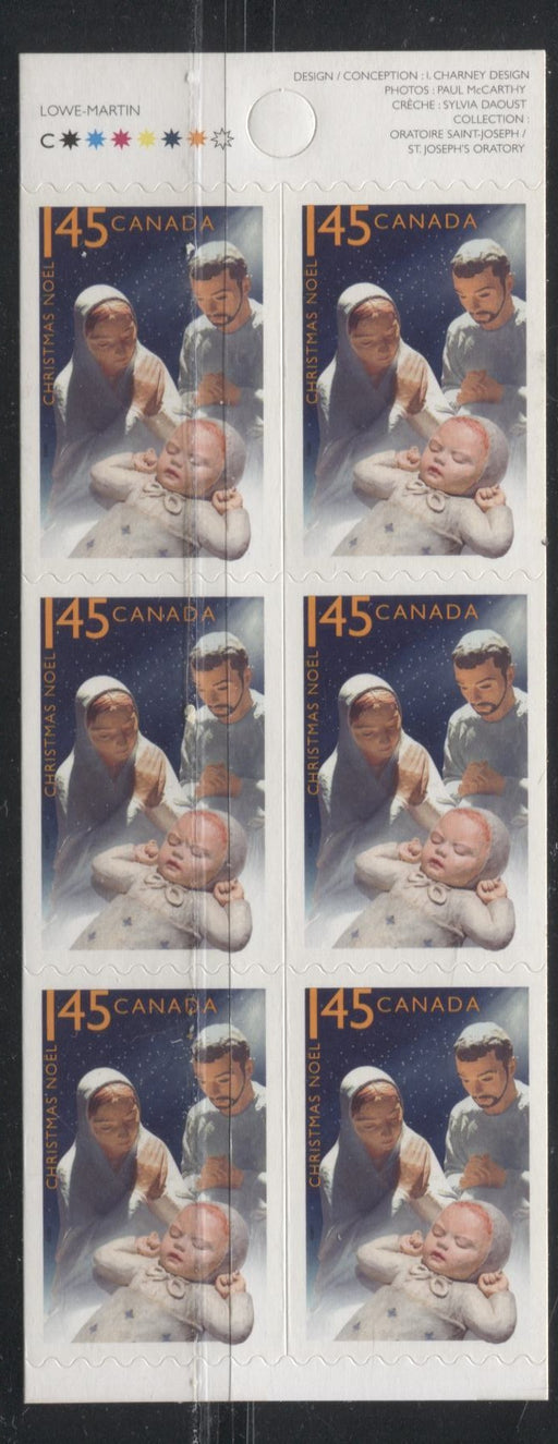 Canada #2127a (BK316) $1.45 Multicoloured Mary, Joseph and Baby Jesus 2005 Christmas Issue, Booklet Pane Of 6. Very Fine NH With Weak, Washed Out Tagging