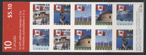 Canada #BK317Ab 2004-2010 Floral & Canadian Pride Definitives, Complete $5.10 Booklet, Dead Fasson Paper, Lowe-Martin Printing, 4 mm GT-4 Tagging, Narrow 32 Slit Roulette