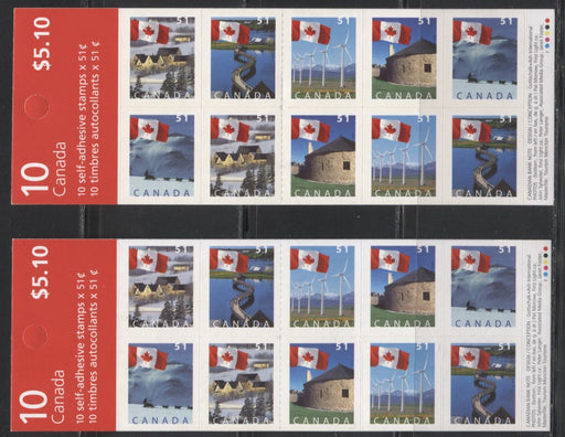 Canada #BK317a 2004-2010 Floral & Canadian Pride Definitives, 2 Complete $5.10 Booklets, Dead Fasson Paper, CBN Printing, Strong and Weak 4 mm GT-4 Tagging, Narrow 29 Slit Roulette