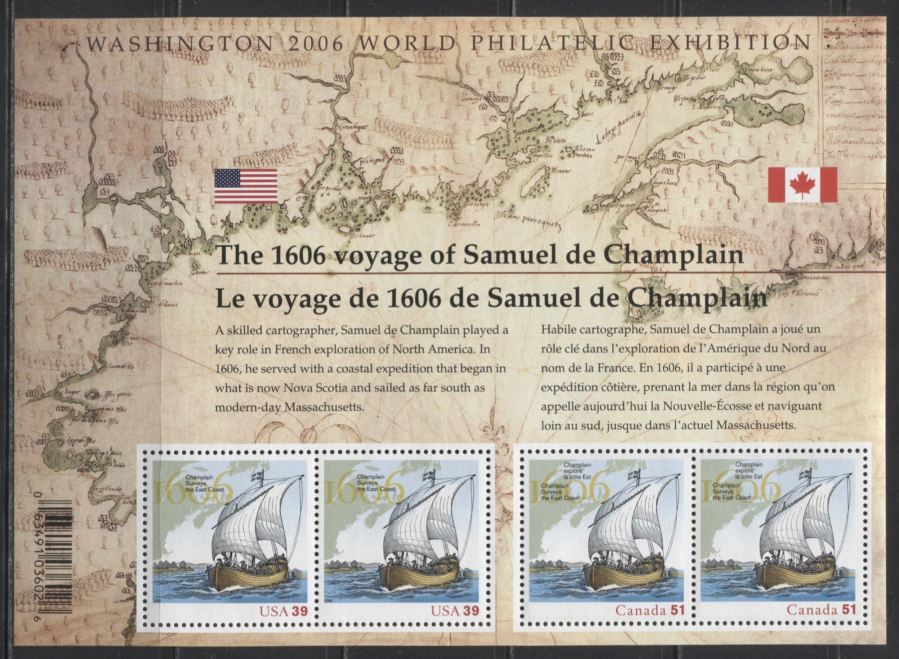 Canada #2156 39c & 51c Multicoloured, 2006 Champlain Surveys the East Coast Issue, A VFNH Example of the Souvenir Sheet of 4 of the Joint Canada-US Issue