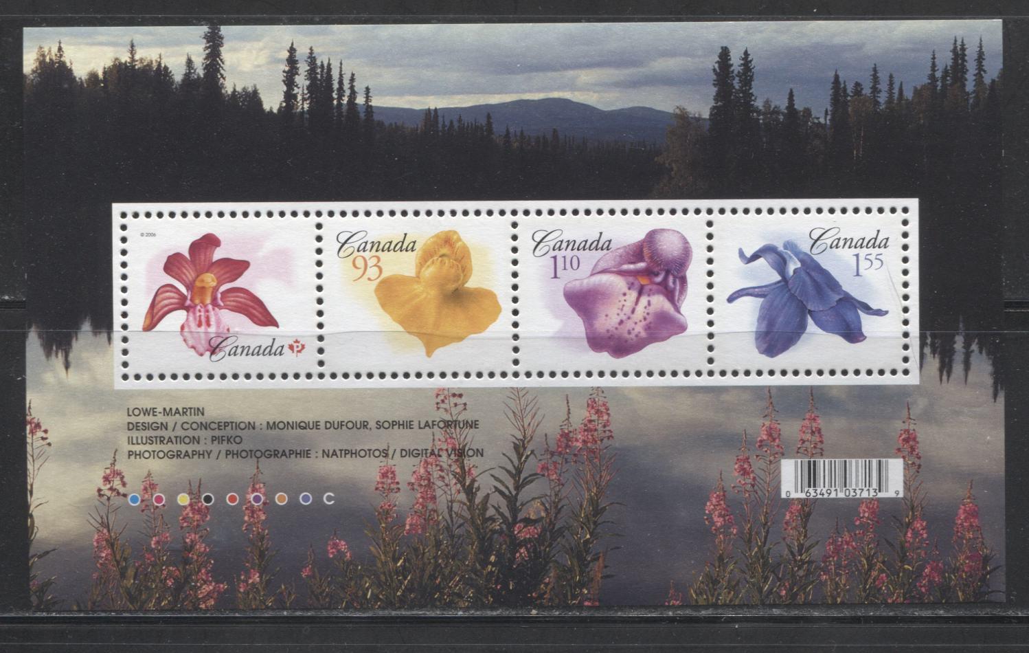 Canada #2194 $4.09 Multicolored 2006 Flower Definitives Issues, A VFNH Souvenir Sheet