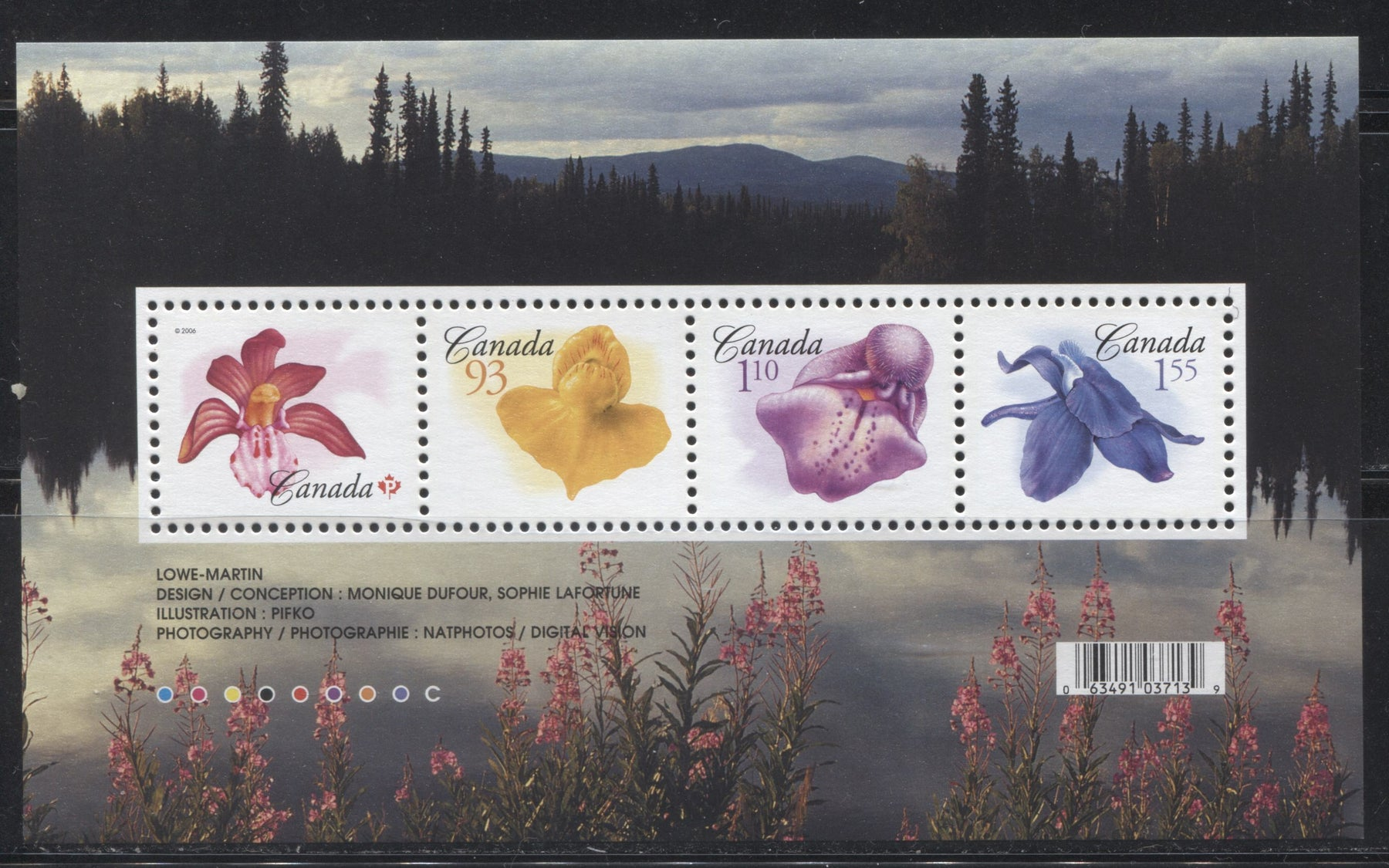 Canada #2194 Permanent(52c)-$1.55 Multicolored Flower Definitives Souvenir Sheet From the Floral And Flag Issue 2004-2010
