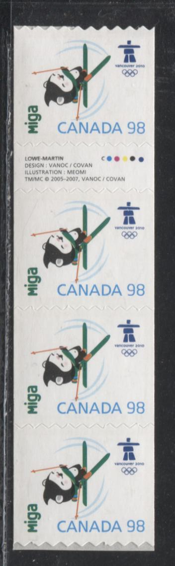 "Canada #2308i 98c Multicoloured ""Miga"", 2009 Vancouver Olympics Issue, Gutter Strip of 4 Coil Stamps With Inscription"