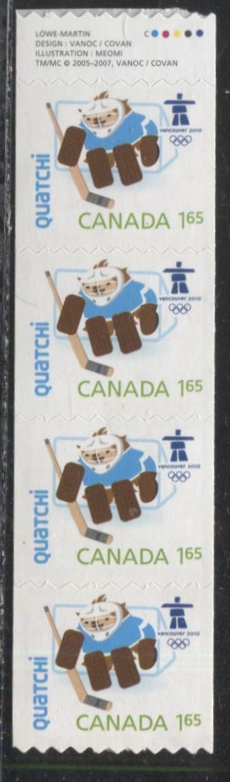 "Canada #2310i $1.65 Multicoloured ""Quatchi"", 2009 Vancouver Olympics Issue, Gutter Strip of 4 Coil Stamps With Inscription"