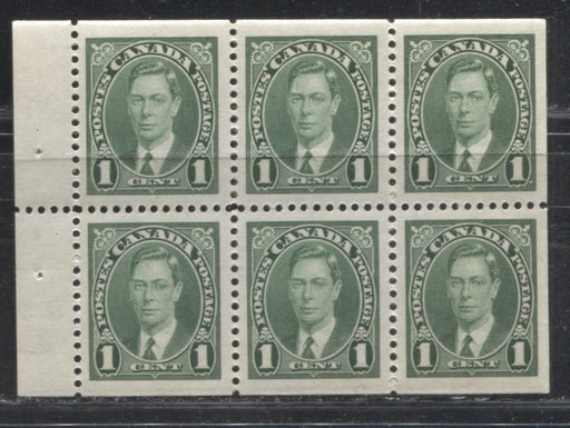 Canada #231b 1c Green 1937-42 Mufti Issue, Booklet Pane of 6, Smooth Vertical Wove Paper, Cream Gum, Very Fine Mint NH