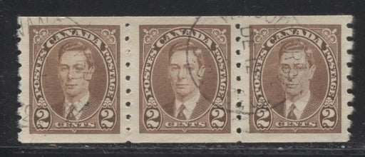 Canada #239 2c Brown King George VI 1937 Mufti Issue Coil Strip of 3 VF-80 Used