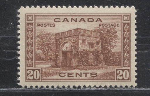 Canada #243 (SG#365) 20c Red Brown Fort Gary 1938-1942 Mufti Issue, A Very Fine NH Example on Smooth Vertical Wove Paper With Cream Gum