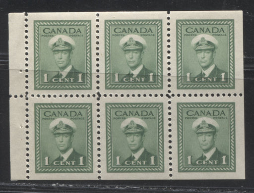 Canada #249b (SG#375b) 1c Pale Green King George VI 1942-49 War Issue Booklet Pane of 6 VF-80 NH