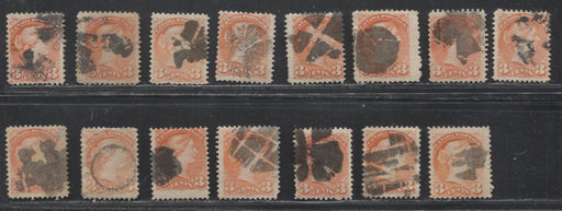 Canada #41 3c Vermilion 1870-1897 Small Queen Issue, Cancel Lot Consisting of 16 Examples With Different Fancy Cancels, Mainly Fine