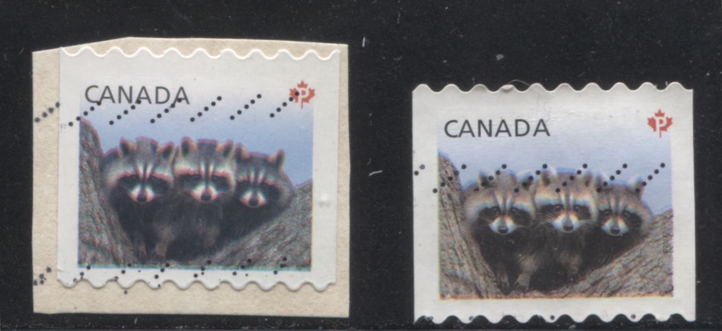 Canada #2506 61c (P) Multicolored Racoons, Vertical Coil From the 2011-2014 Wildlife & Canadian Pride Issue, Two VF Used Examples Each Showing Strong Colour Shifts