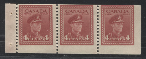 Canada #254b 4c Carmine-Red King George VI, 1942-1949 War Issue, A Fine Mint NH Example of the Chewing Gum Booklet Pane, Miscut at the Top