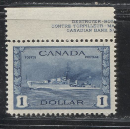 Canada #262 $1 Steel Blue Hossack Destroyer 1942-1949 War Effort Issue Very Fine Mint NH Example of a Post-1945 Printing on Lightly Ribbed Paper