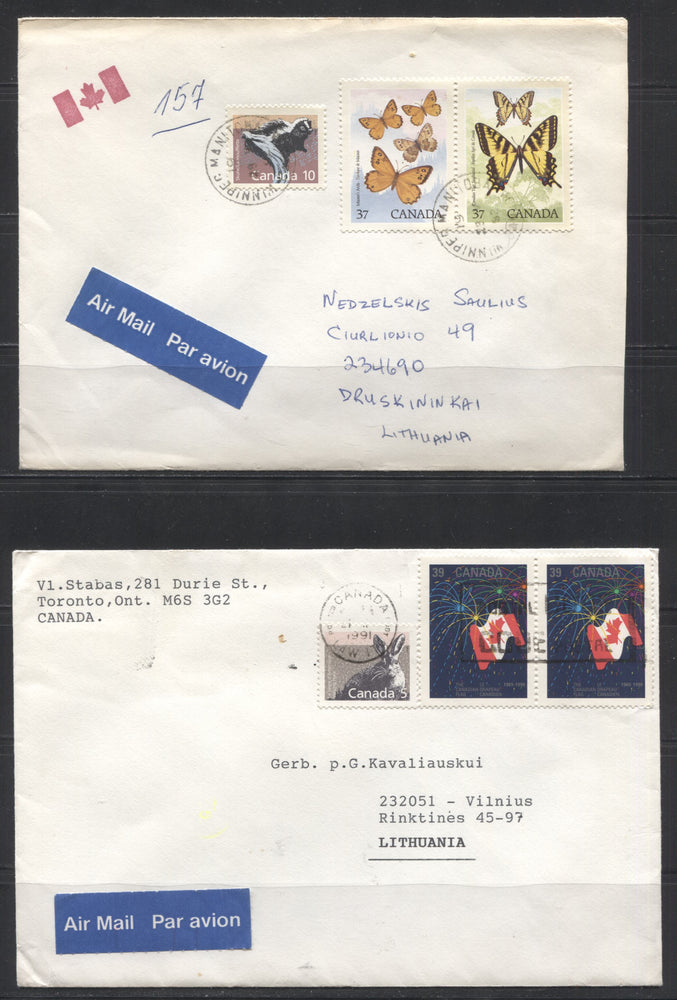 Canada #1158, 1160 1988 Low Value Mammals Definitives, Two Airmail Covers to Lithuania, Franked With the 5c and 10c Values in Combination With Commemoratives