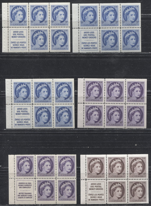 Canada #337a/341aiii 1c Chocolate - 5c Ultramarine Queen Elizabeth II, 1954-1962 Wilding Issue, a Group of 6 VFNH and VFLH Booklet Panes, Including One on Low Fluorescent Paper