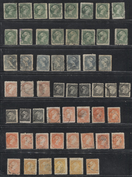 Canada #34/44 1/2c Black - 8c Slate Queen Victoria, 1870-1897 Small Queen Issue, A Fantastic Shade Study Lot of 188 Stamps