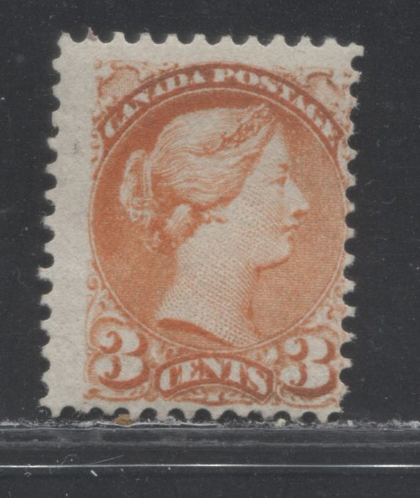Canada #37 3c Orange-Red Queen Victoria, 1870-1897 Small Queen Issue, a VG Mint Example of the Late Montreal Printing, Perf. 12 x 12.1