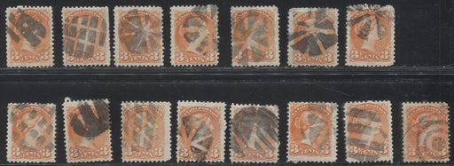 Canada #37 3c Orange Red 1870-1897 Small Queen Issue, Cancel Lot Consisting of 15 Examples With Different Fancy Cancels, Mainly Fine