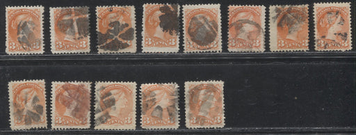 Canada #37 3c Orange Red 1870-1897 Small Queen Issue, Cancel Lot Consisting of 13 Examples With Different Fancy Cancels, Mainly Fine