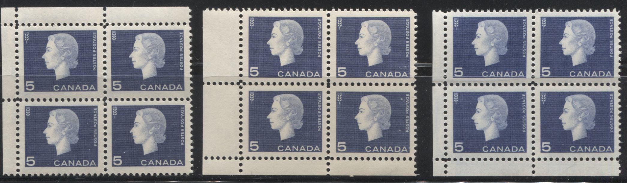 Canada #401-405 1c Brown - 5c Violet Blue Queen Elizabeth II, 1962-1967 Cameo Issue, Specialized Group of 15 Field Stock Corner Blocks, Showing Different Perfs, Shades, and Gums