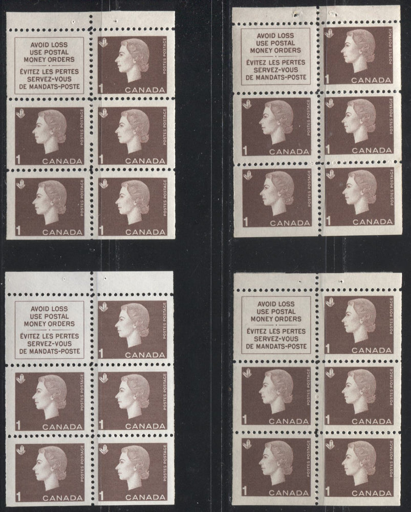 Canada #401a 1c Brown Queen Elizabeth II, 1962-1967 Cameo Issue, A Group of 4 VFNH Booklet Panes, Showing Different Shades, Gums Papers