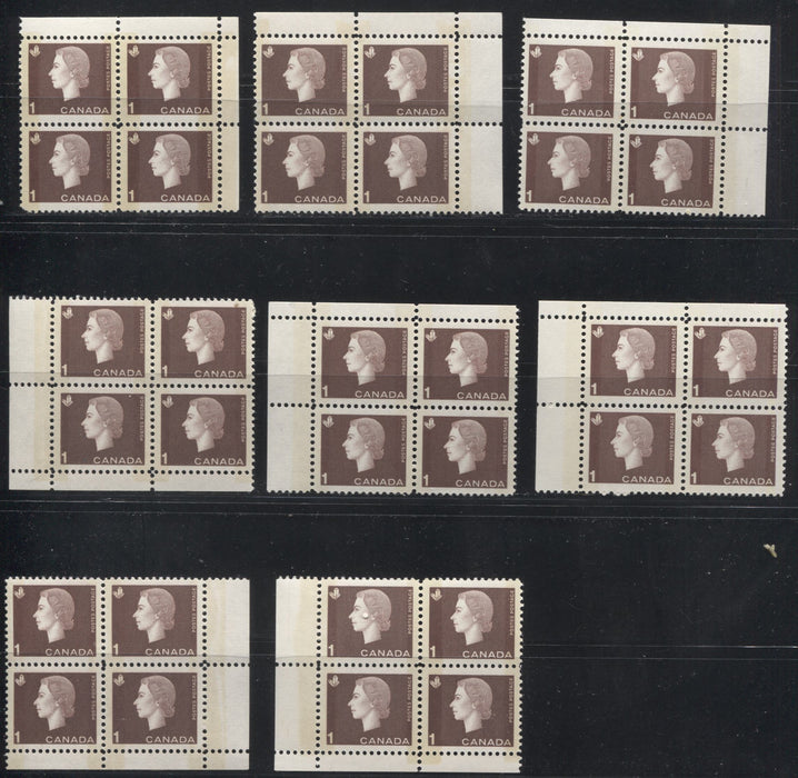Canada #401p 1c Brown Queen Elizabeth II, 1962-1967 Cameo Issue, A VFNH Group of 8 Winnipeg Tagged Field Stock Corner Blocks With Different Selvedge Widths, Shades and Tagging Strengths, All on NF Paper