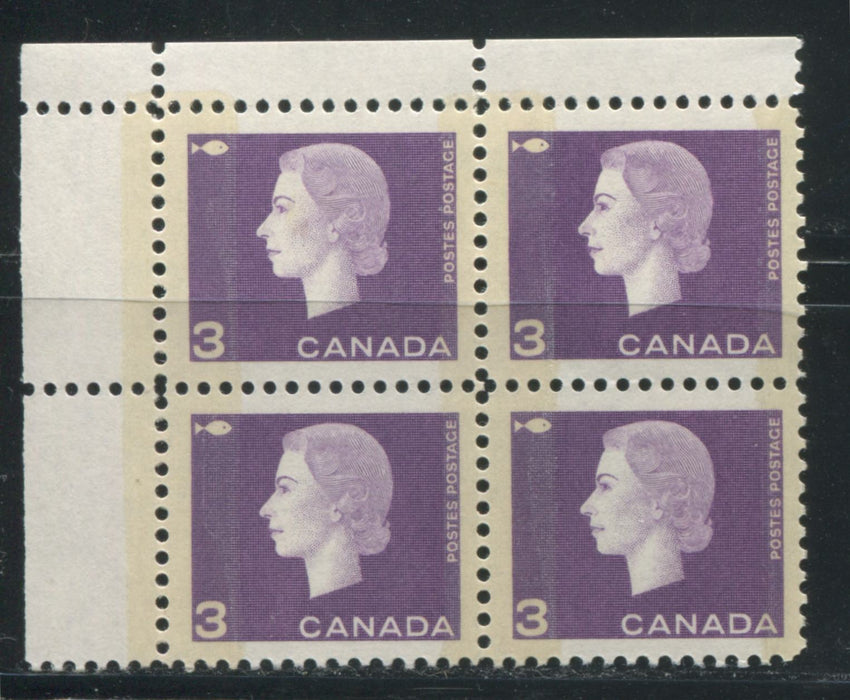 Canada #403viii 3c Deep Dull Reddish Violet Queen Elizabeth II, 1962-1967 Cameo Issue, a VFNH UL Field Stock Winnipeg Tagged Block With Deep Strength Tagging on Low Fluorescent Paper
