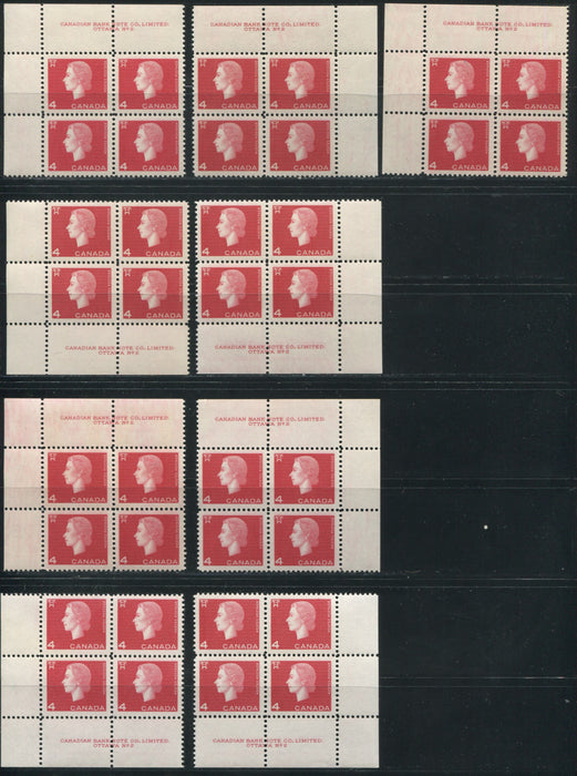 Canada #404 4c Deep Red Queen Elizabeth II, 1962-1967 Cameo Issue, a Group of 9 VFNH Plate 2 Blocks on DF or DF-fl Paper Showing Different Gums, Perfs and Shades