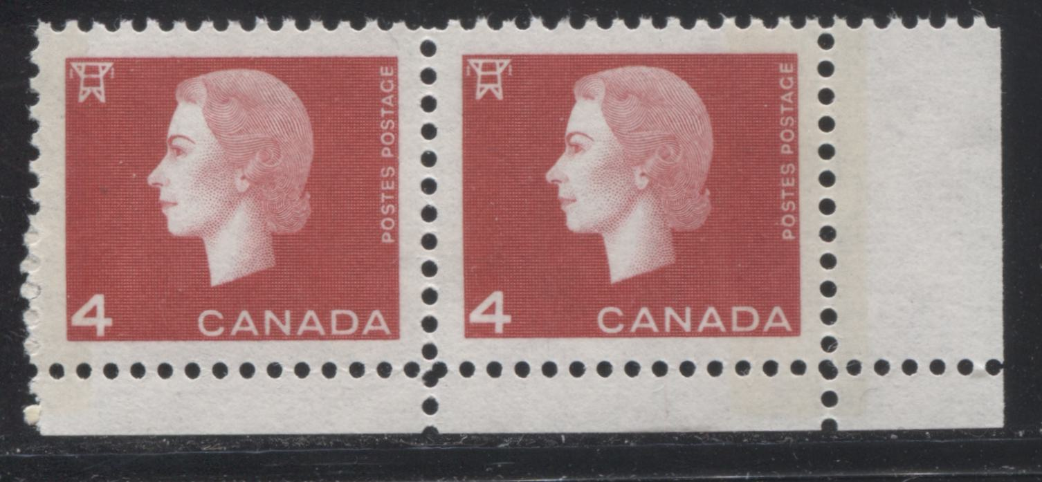 Canada #404viii 4c Bright Red Queen Elizabeth II, 1962-1967 Cameo Issue, a VFNH LR Field Stock Pair Tagged With 8 mm Split Bar, on LF-fl Paper
