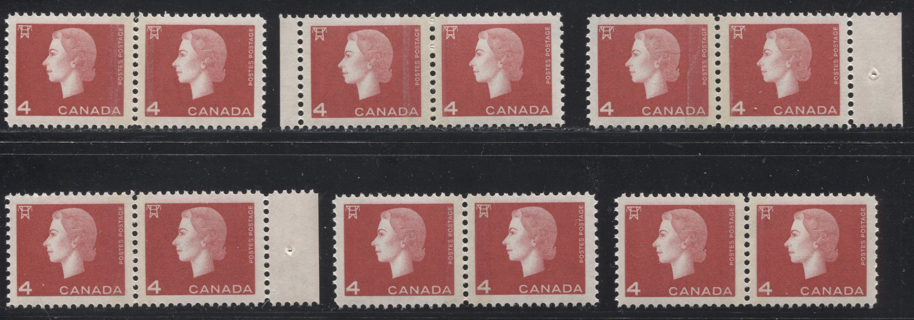 Canada #404x 4c Bright Red Queen Elizabeth II, 1962-1967 Cameo Issue, Six VFNH Winnipeg Split Bar Pairs, With Different Tagging Strengths, Perfs and Gums