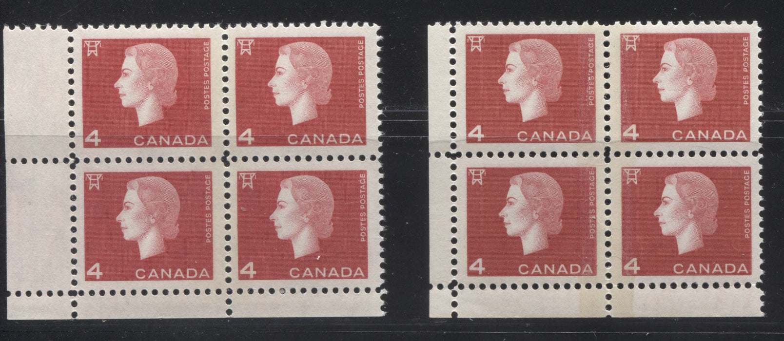 Canada #404x 4c Deep and Bright Red Queen Elizabeth II, 1962-1967 Cameo Issue, LL VFNH Winnipeg Tagged Field Stock Corner Blocks With 8 mm Split Bar and Different Selvedge Widths and Tagging Strengths