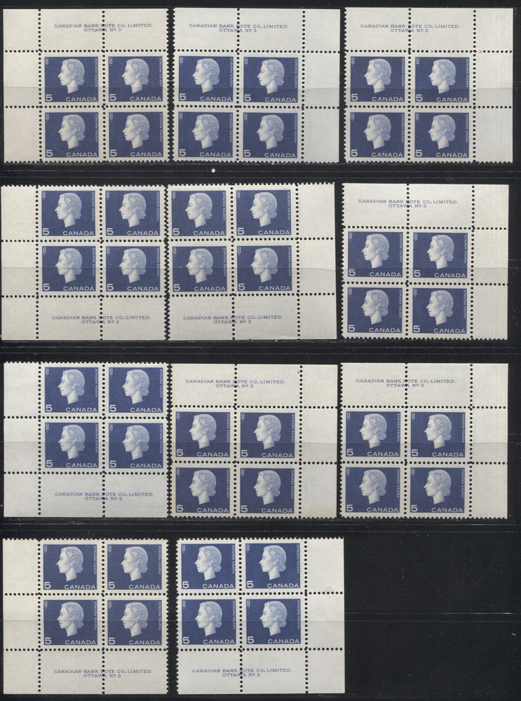 Canada #405 5c Violet Blue Queen Elizabeth II, 1962-1967 Cameo Issue, a Group of 11 VFNH Plate 3 Blocks on DF Paper Showing Different Gums, Perfs and Shades