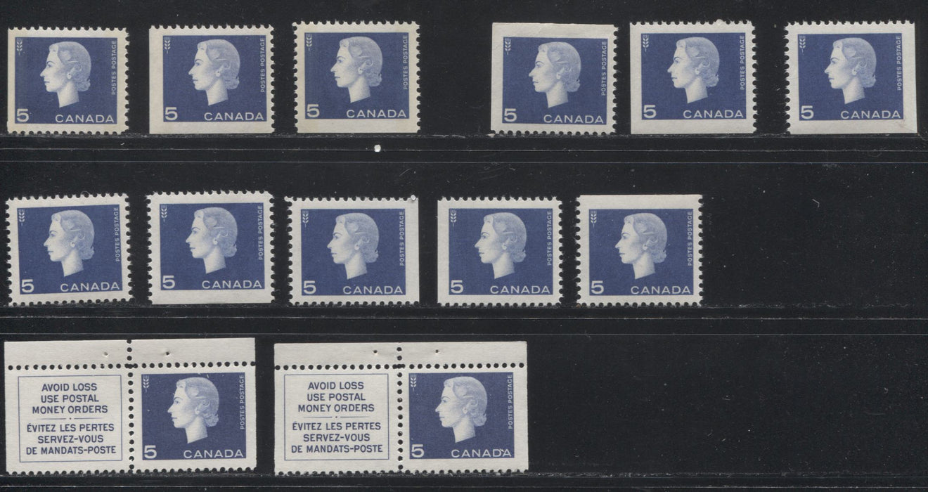 Canada #405as, bs, qs 5c Violet Blue Queen Elizabeth II, 1962-1967 Cameo Issue, Specialized Group of 13 Booklet and Miniature Pane Stamps Showing Different Papers and Straight Edges