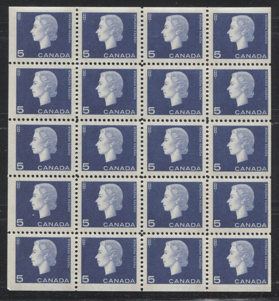Canada #405q 5c Violet Blue Queen Elizabeth II, 1962-1967 Cameo Issue, a VFNH Winnipeg Tagged Miniature Pane of 20, DF-fl Translucent Vertical Wove Paper, Light Bands, Perf. 11.9 x 11.85, Slightly Streaky Gum