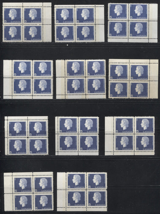Canada #405p 5c Violet Blue & Bright Ultramarine Queen Elizabeth II, 1962-1967 Cameo Issue, A Group of 11 VFNH Winnipeg Tagged Field Stock Corner Blocks With Different Selvedge Widths, Shades, Perfs and Different Tagging Strengths