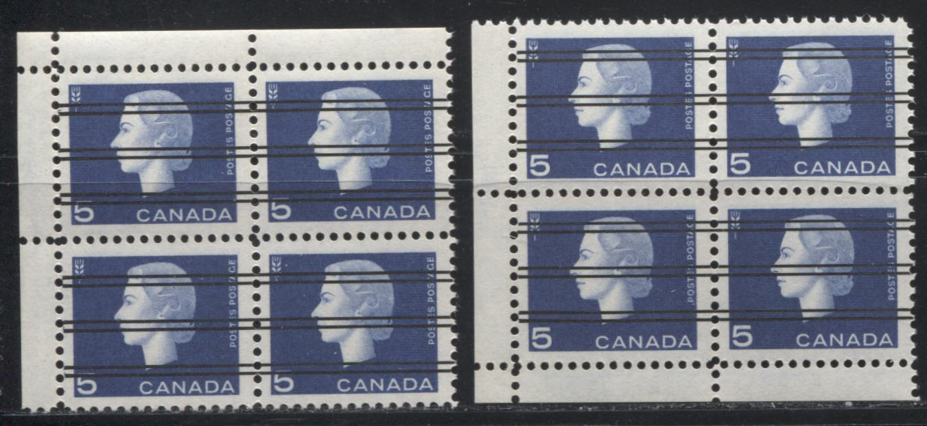 Canada #405xx 5c Deep Aniline Ultramarine Queen Elizabeth II, 1962-1967 Cameo Issue, LL and UL VFNH Field Stock Precancel Corner Blocks With Narrow Selvedge