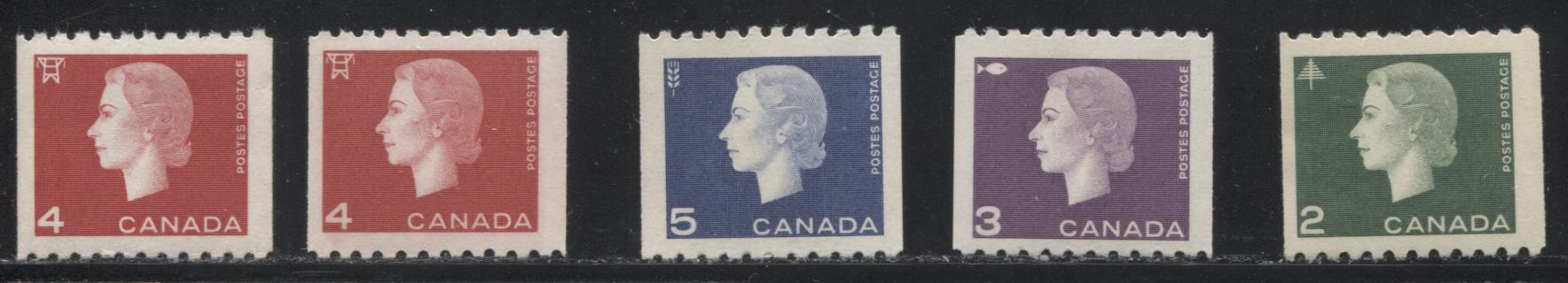 Canada #406-409 2c Green - 5c Violet Blue Queen Elizabeth II, 1962-1967 Cameo Issue, A VFNH Complete Set of Coil Stamps With an Extra Shade of the 4c